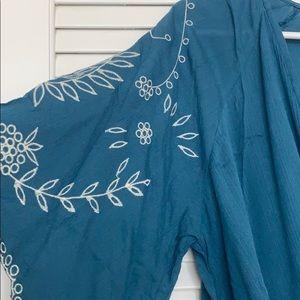 Love Stitch Tops - Love Stitch 💙 Embroidered Surplice Neck Blouse